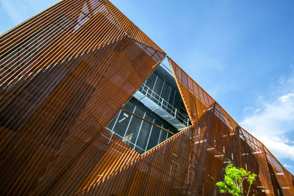 Perforated steel corten facade for the Liverpool Telephone Service Center in Morelia (Michoacán) - Mexico